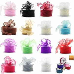 50mm-Wired-Organza-Ribbon-2-5-20m-lengths-18-Colours