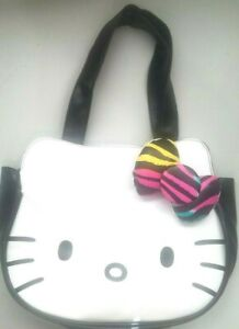 Hello-Kitty-Loungefly-Sanrio-Purse-Shoulder-Bag-Tote-Black-White-Leopard-3D-Bow