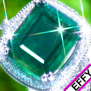 Emerald-Ring-EFFY-14K-GOLD-9-54ct-VS-Diamond-ESTATE-Vintage-Cocktail-Ring