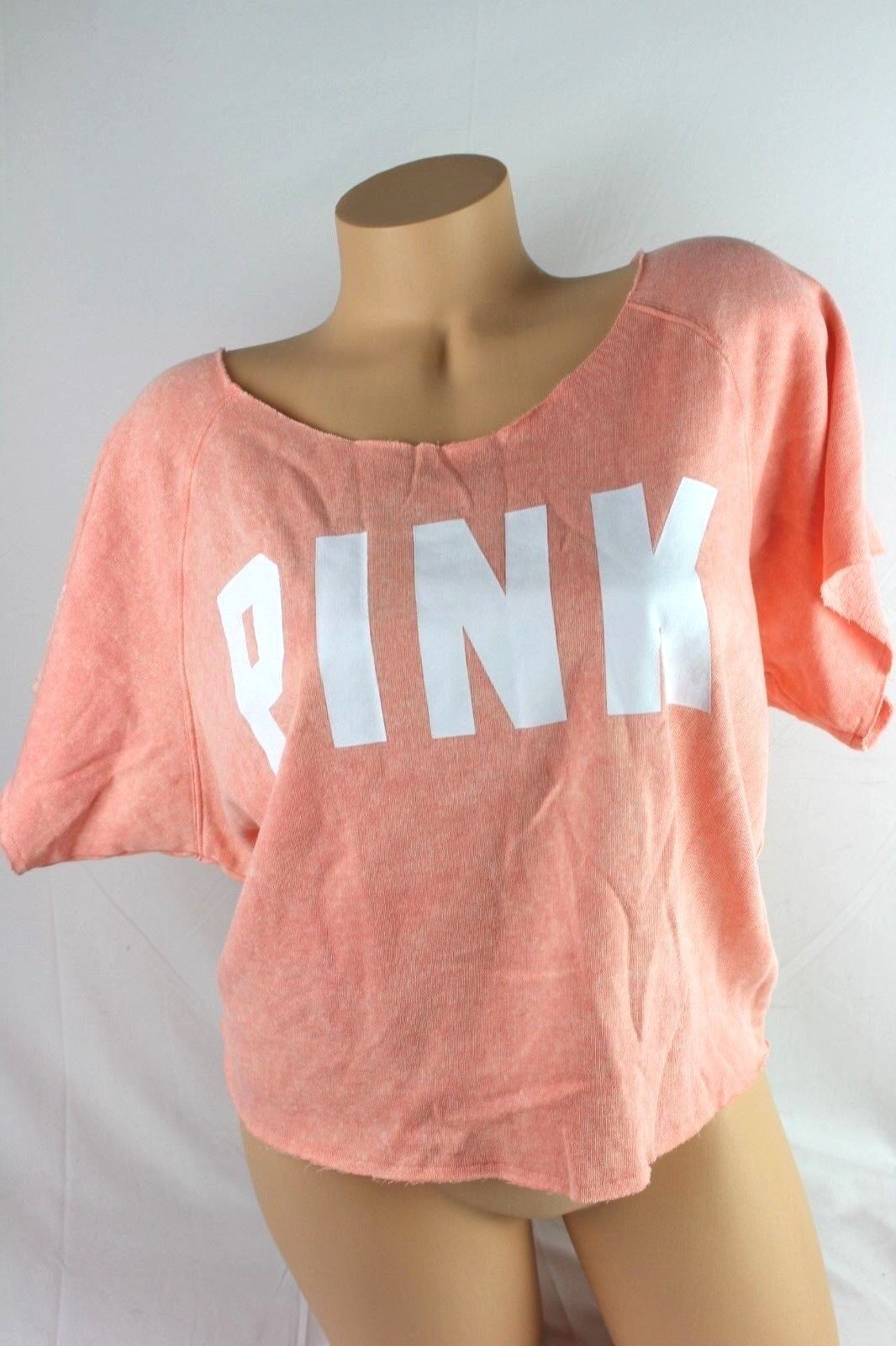VICTORIA'S SECRET PINK SWEATSHIRT SHORT SLEEVE GRAPHIC CROPPED LARGE LARGE LARGE NEW F169 5a7216