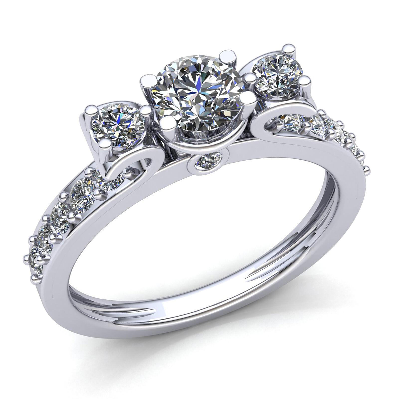 0.75carat Round Cut Diamond Ladies Past Present Future Engagement Ring 18K gold
