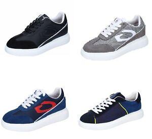GUARDIANI scarpe uomo sneakers nero grigio blu pelle camoscio tessuto
