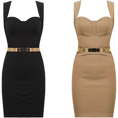 New Cut Out Back Gold Belted Sweetheart Bodycon Evening Party Cocktail Dress