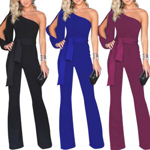 Womens-Jumpsuit-One-Shoulder-Rompers-Slit-Sleeve-Party-Dress-Bodycon-Playsuit