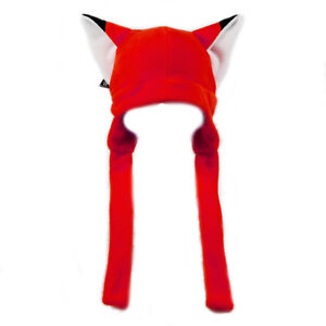 PAWSTAR-Fox-Ears-hat-Fleece-beanie-Unisex-Adult-Gift-Strap-Bright-RED-RD-1370