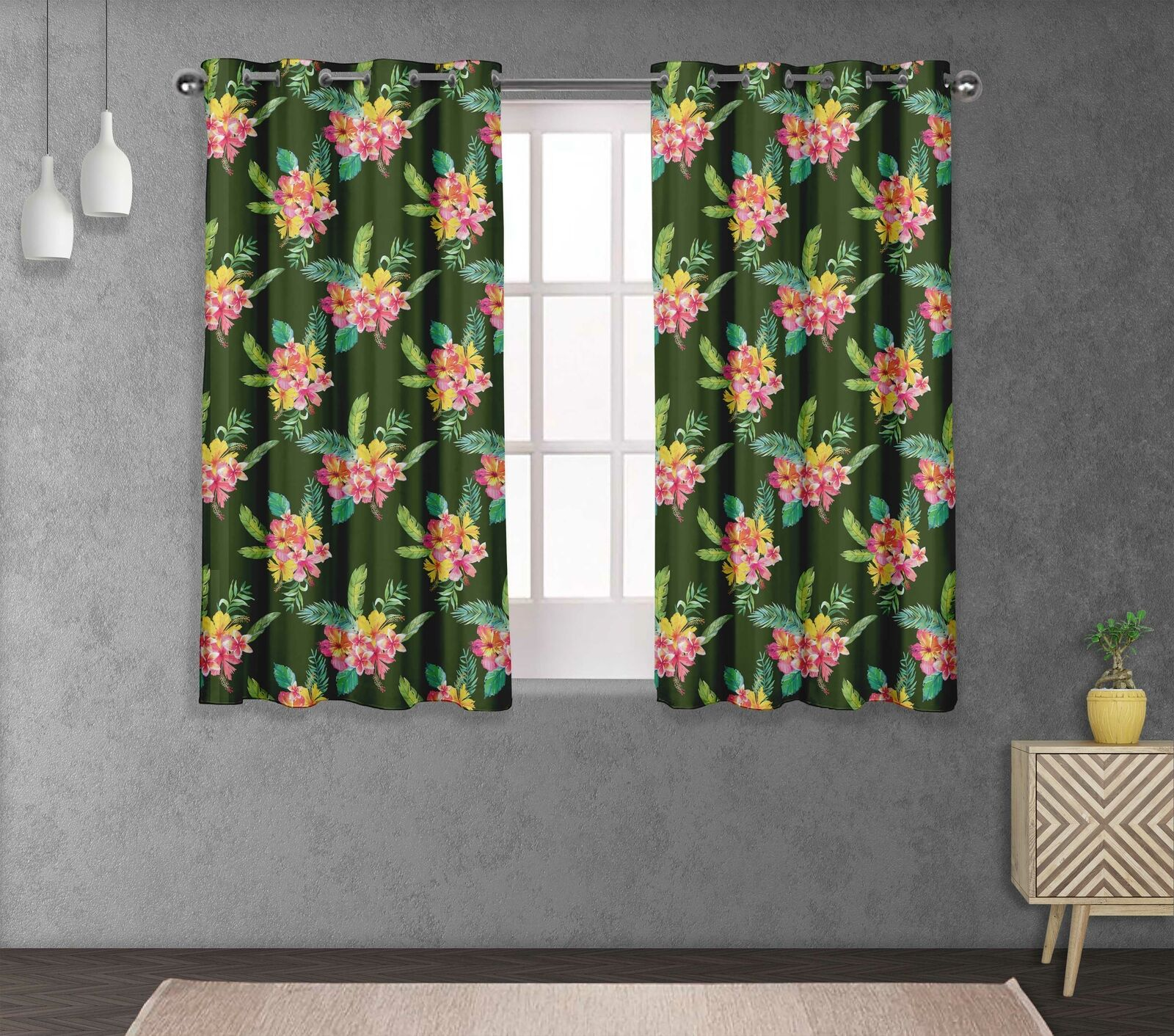 S4sassy Plumeria & Bedroom short & long Window  Eyelet Curtains -FL-650B