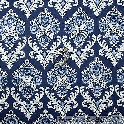BonEful Fabric FQ Cotton Quilt Blue Navy White Elephant Flower Paisley US Damask
