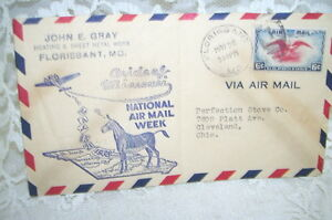 1938 Airmail Envelope National Air Mail Week Six Cent Stamp Advertising Missouri