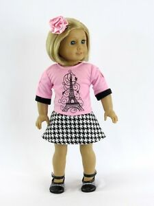 Doll-Clothes-18-034-Skirt-Blouse-Pink-Paris-Hair-Clip-Fits-American-Girl-Dolls