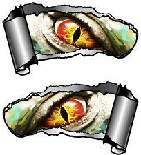 Small Pair Ripped Open Metal Rip GASH Evil Eye Monster Vinyl Car Sticker decal