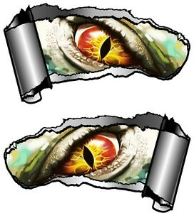 Small Pair Ripped Open Metal Rip GASH Evil Eye Monster Vinyl Car - Car sticker designripped torn metal design with evil eye monster motif external