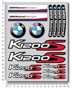 k1200s motorrad motorcycle decal set 22 premium stickers bmw k1200 s laminated ebay. Black Bedroom Furniture Sets. Home Design Ideas