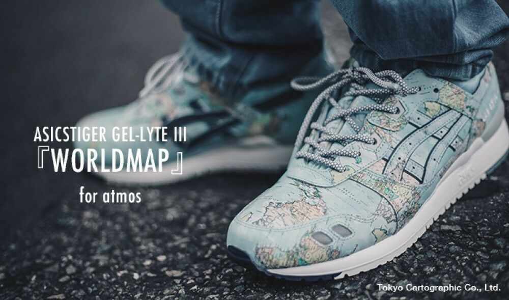 ASICS TIGER GEL LYTE III WORLD MAP for atmos JAPAN Limited model Sneakers