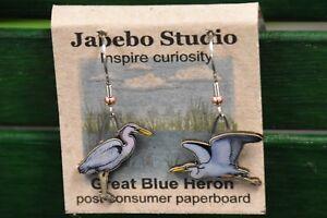 Jabebo Earrings Great Egret