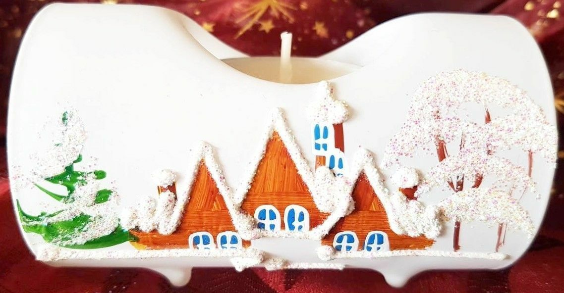 Kerzenständer Weihnachten Weiß Deko Glas Teelicht Kerzen Advent Handbemalt WOW  | Authentische Garantie