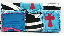 CROSS ZEBRA RAG BAG RAGBAG PATCHWORK TRIFOLD WALLET PINK TURQUOISE BLUE CUTE NEW