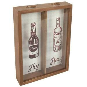 His And Hers Bottle Top Cork Wooden Glass Collection Box Wedding