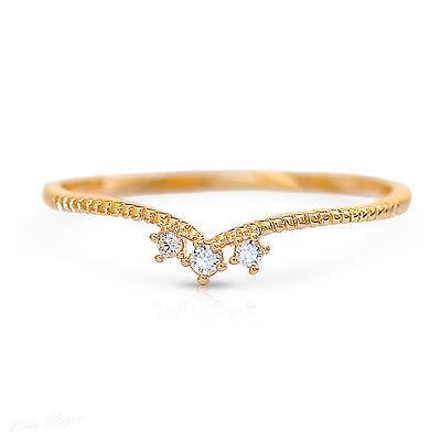 Gold Filled 14k Swarovski Crystal Chevron Ring Sizeable Gentle Thin Royal