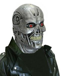 SILVER ALIEN MASK /& NECK ROBOT SKULL LATEX FILM TV SCARY FULL HALLOWEEN NEW