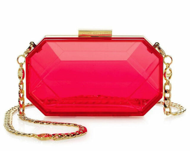 JUICY COUTURE PINK ORANGE CREST GEM MINAUDIER CROSSBODY BAG ORG. $148.00  BNWT