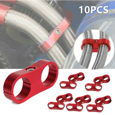 AN6 6AN 14MM Braided OIL Hose Separator Clamp Fitting Adapter Bracket RED 1PCS