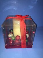 Kohls Christmas Pillar Candle With Bells Centerpiece Red Silver Green