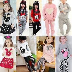 2-piezas-Infantil-Ninas-Ropa-Trajes-Camiseta-Sueter-Chandal-pantalones