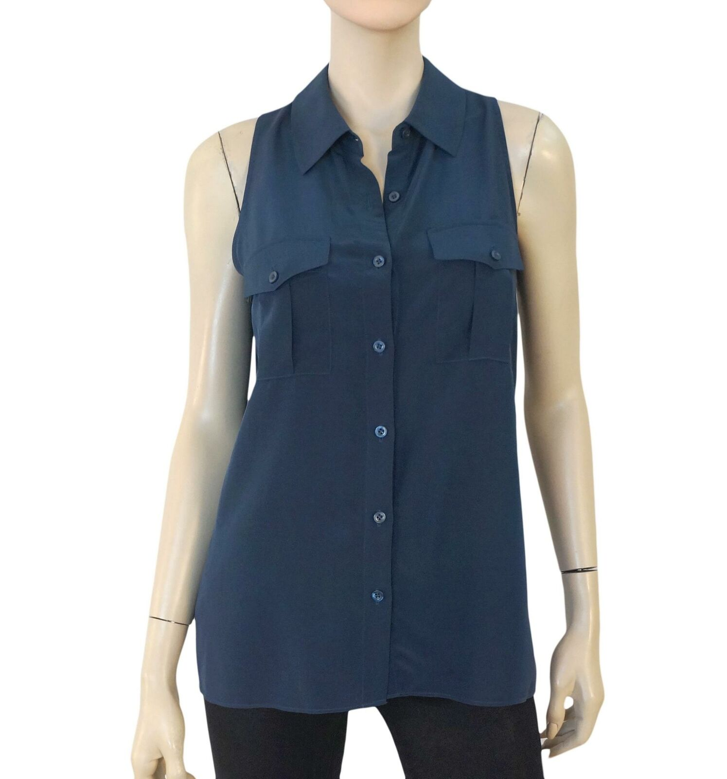 BARNEYS NEW YORK Sleeveless Navy Blau Silk Utility Blouse XS