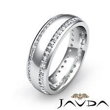 Mens Eternity Wedding Dome Band Platinum 2 Row Round Bezel Diamond Ring 1.10Ct