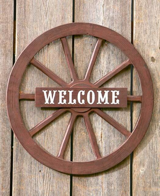 Rustic Primitive Country Welcome Wall Art Western Wagon Wheel Welcome Sign