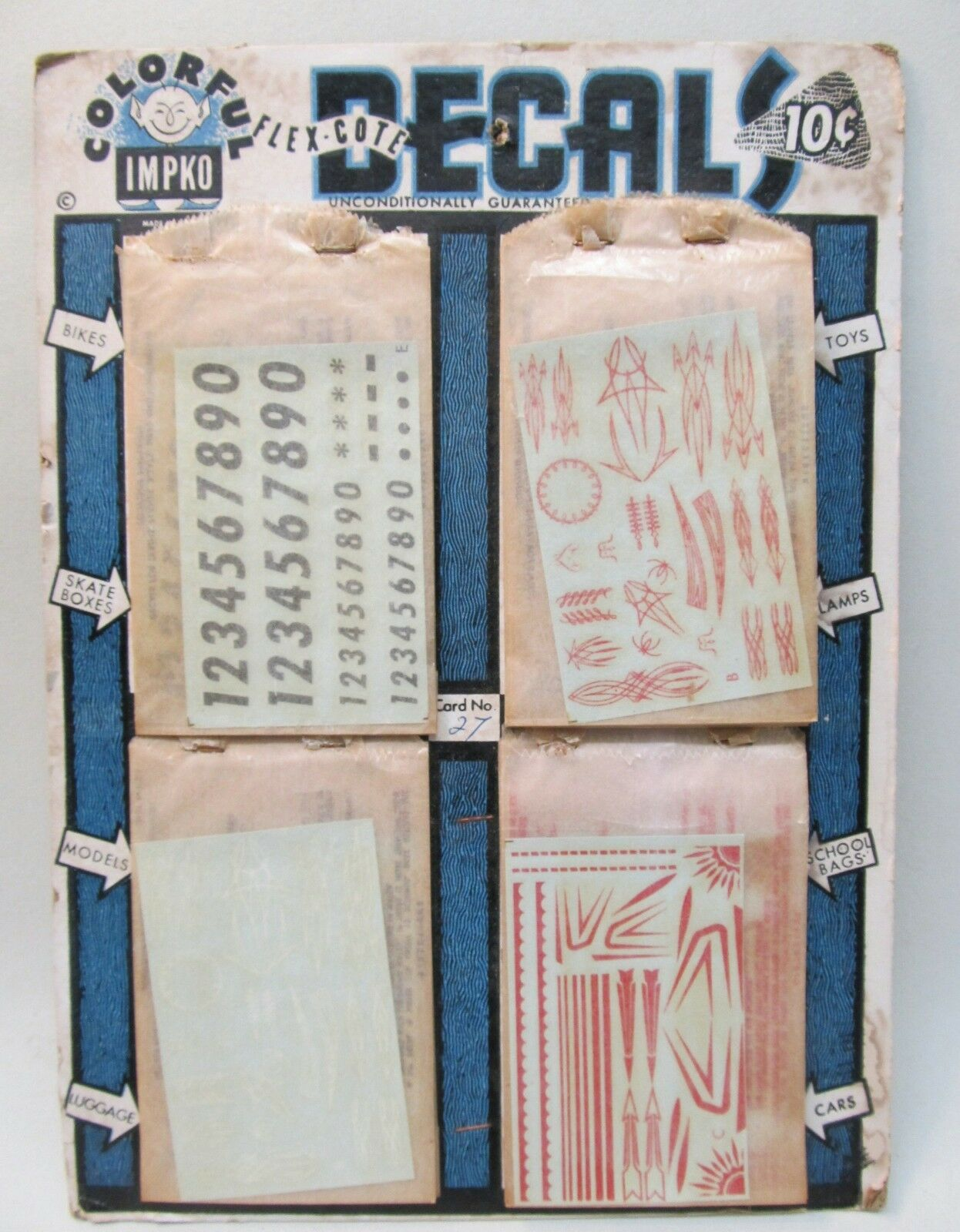 Vintage 19 sheets IMPKO DECALS store display numbers pin stripes KITS SLOT CARS