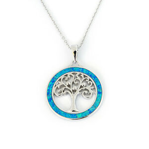 Solid-Sterling-Silver-Rhodium-Plated-Blue-Inlay-Simulated-Opal-Round-Necklace