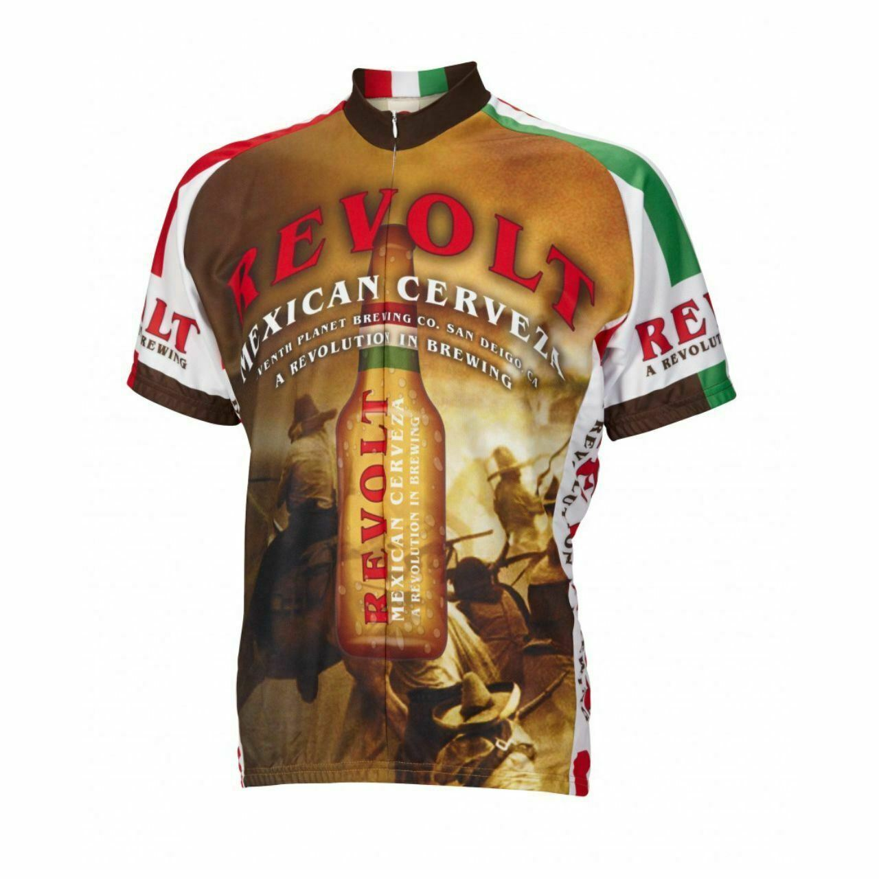Revolt Mexican Cerveza  Beer Short sleeve 16 zip uomo cycling jersey