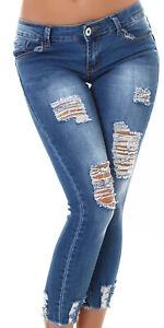 Jeans Ladies Skinny 7/8 Jeans Used Look Push-Up