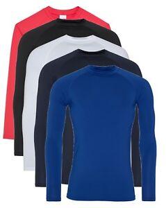 ea953c9400c5 Detalles de Hombre para Rojo Azul Blanco o Negro Camiseta Interior de Manga  Larga Tee