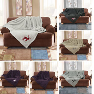 Details About Luxury Soft Warm Fleece Cuddly Teddy Stag Throw Sofa Double Bed Blanket Large