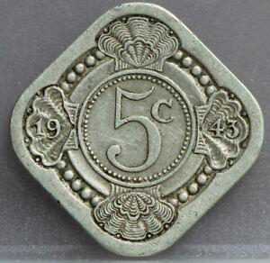 Nederland-The-Netherlands-5-cent-1943-stuiver-1943-Cupro-KM-40