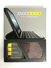 New ZAGGfolio Case for Apple iPad 2, 3 & 4Gen w/Keyboard Alligator Leather Brown