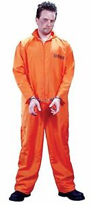 Mens Prisoner Costume Orange Convict Jumpsuit Jail Outfit ...