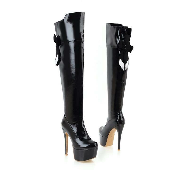 Gr.33-48 Damenschuhe kniehohe stiefel plattform high heels Reißverschluss club