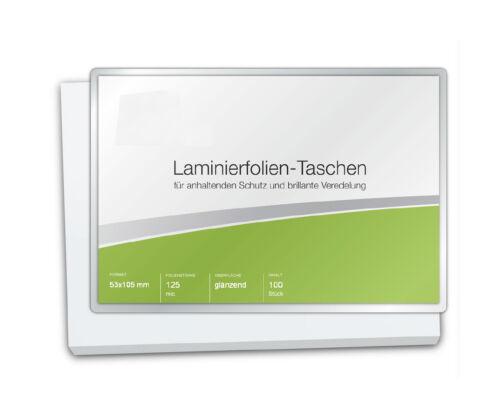 Laminierfolien 53 x 105 mm glänzend 2 x 125 mic