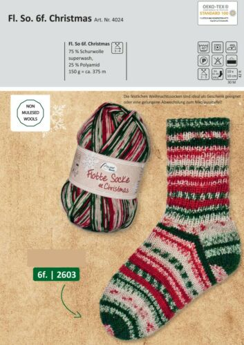 mulesingfrei Calcetines lana strumpfwolle rellana flota Christmas 6 veces 150g