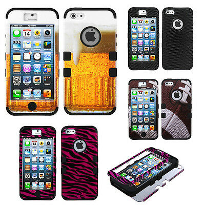 New Hybrid Tuff Hard Design Silicone Shockproof Cover Case For Apple iPhone 5 5S