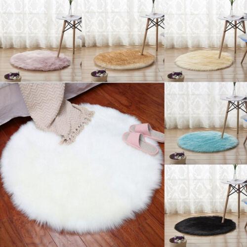 Wohnzimmer Möbel Teppich Plüsch Kissen Kunst Schaffell Unifarbig Deko Rundform