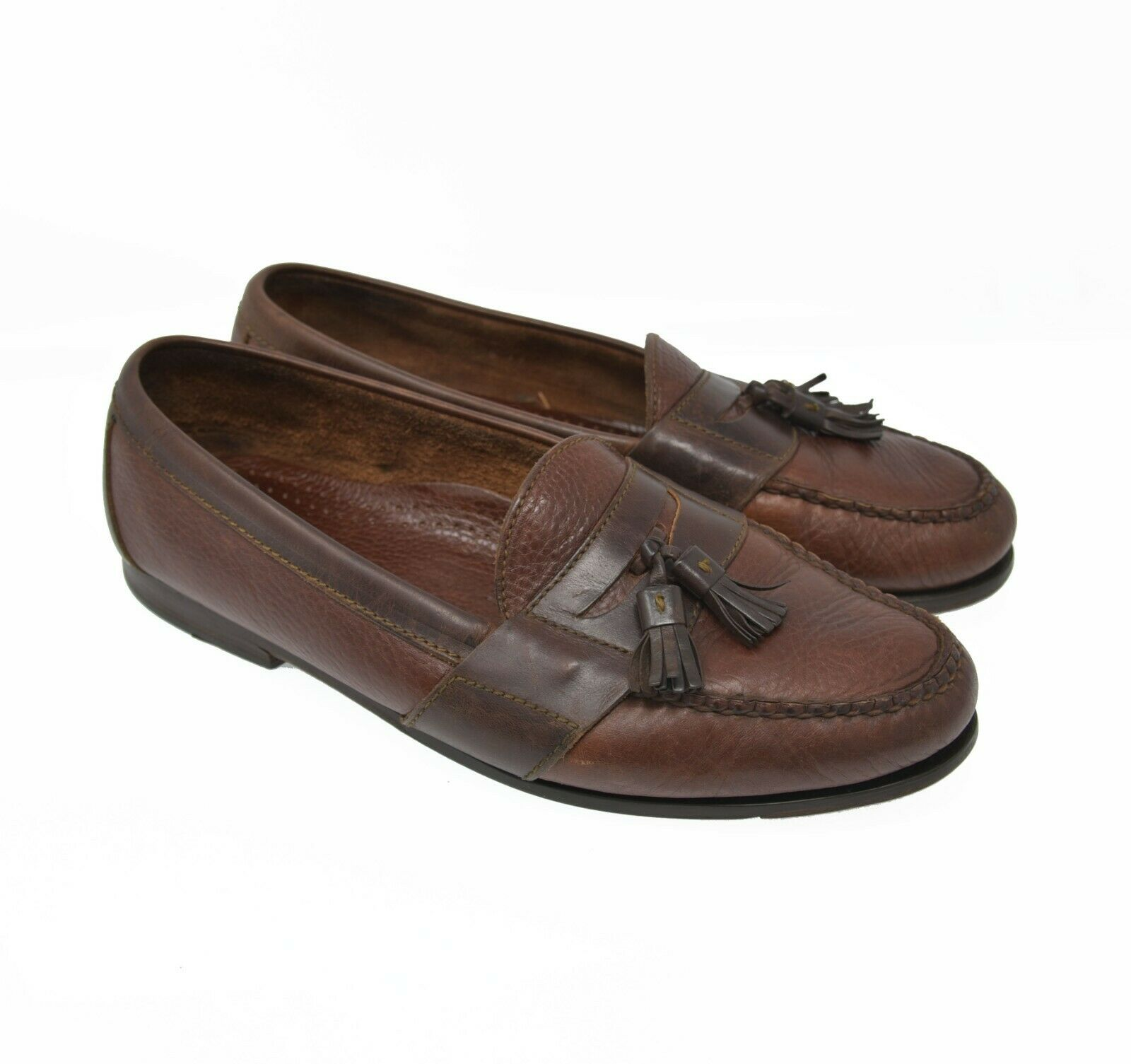 Cole Haan Country Men's Sz 11 EU 43 Brown Leather Slip On Tassel Penny Loafers