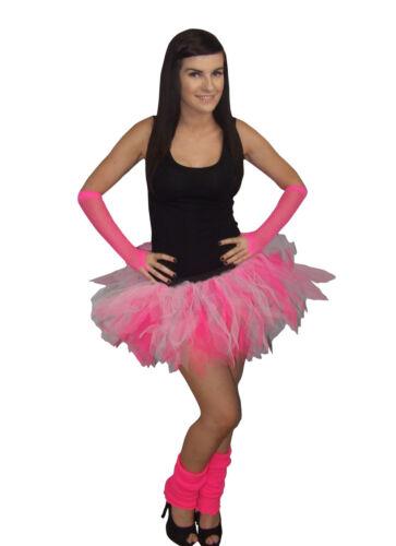 Neon Pink White Tutu Skirt 80S Fancy Dress HEN PARTY COSTUME Legwarmers Gloves