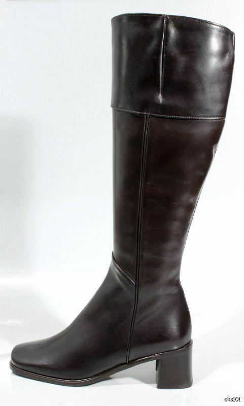 New  495 SESTO MEUCCI chocolate braun leather zipper TALL Stiefel  5.5