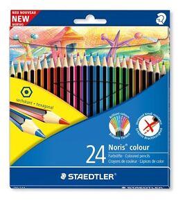 24-X-Staedtler-Wopex-Noris-Farbstifte-Ausgewaehlte-Farben-Sechseckige-Form