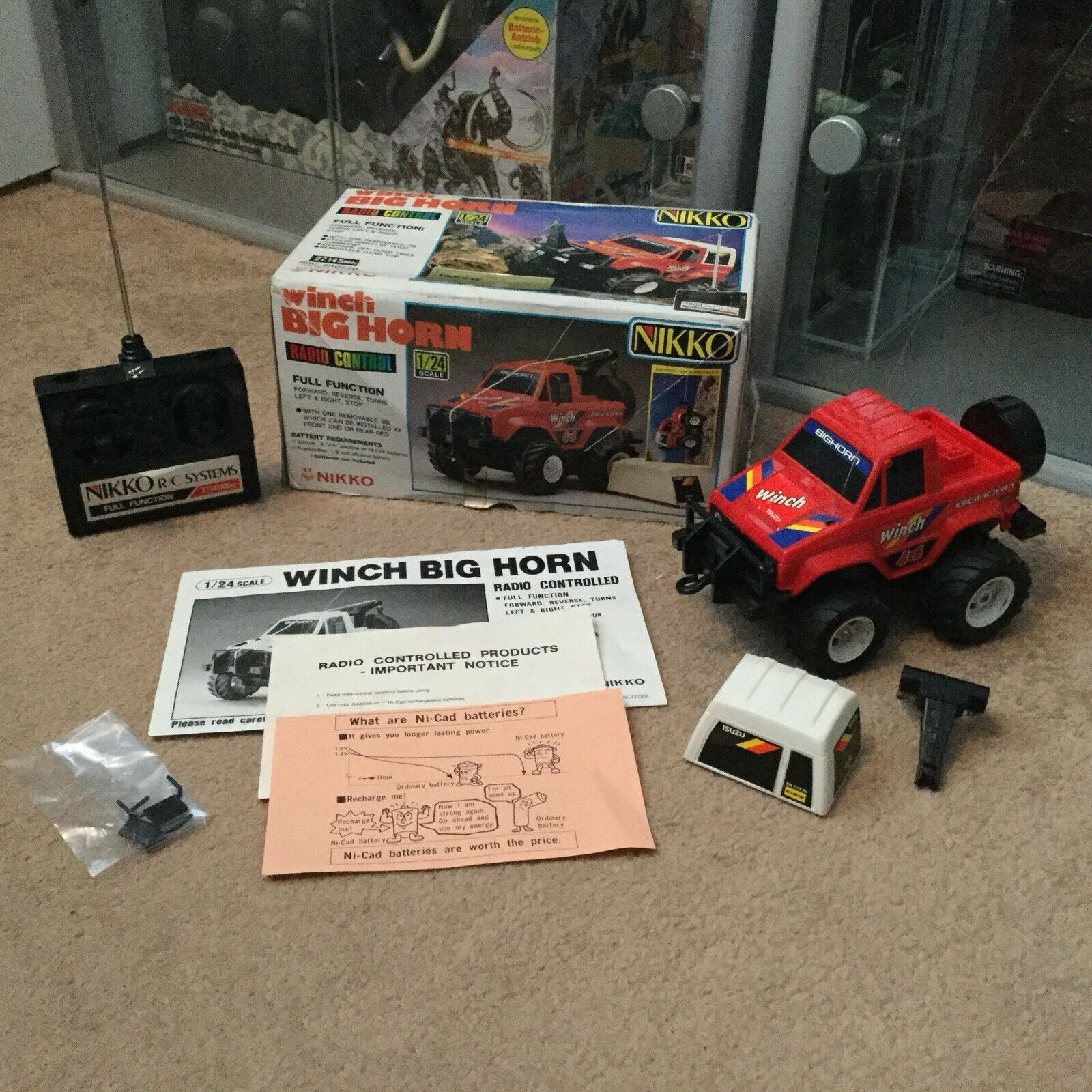 Nikko Winch Big Horn 1 24 RC Remote Control Car Complete VGC Complete Boxed 1986