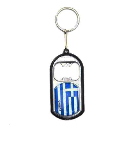 GREECE COUNTRY FLAG LED LIGHT /& BOTTLE OPENER  METAL KEYCHAIN